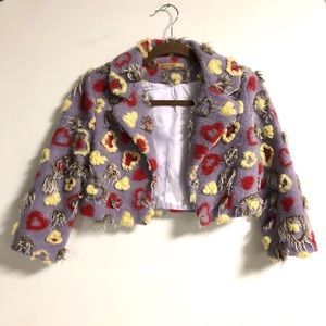 Anthropologie Fuzzy Heart Jacket